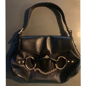 Gucci Horsebit Black Leather Bag w/Gold Hardware